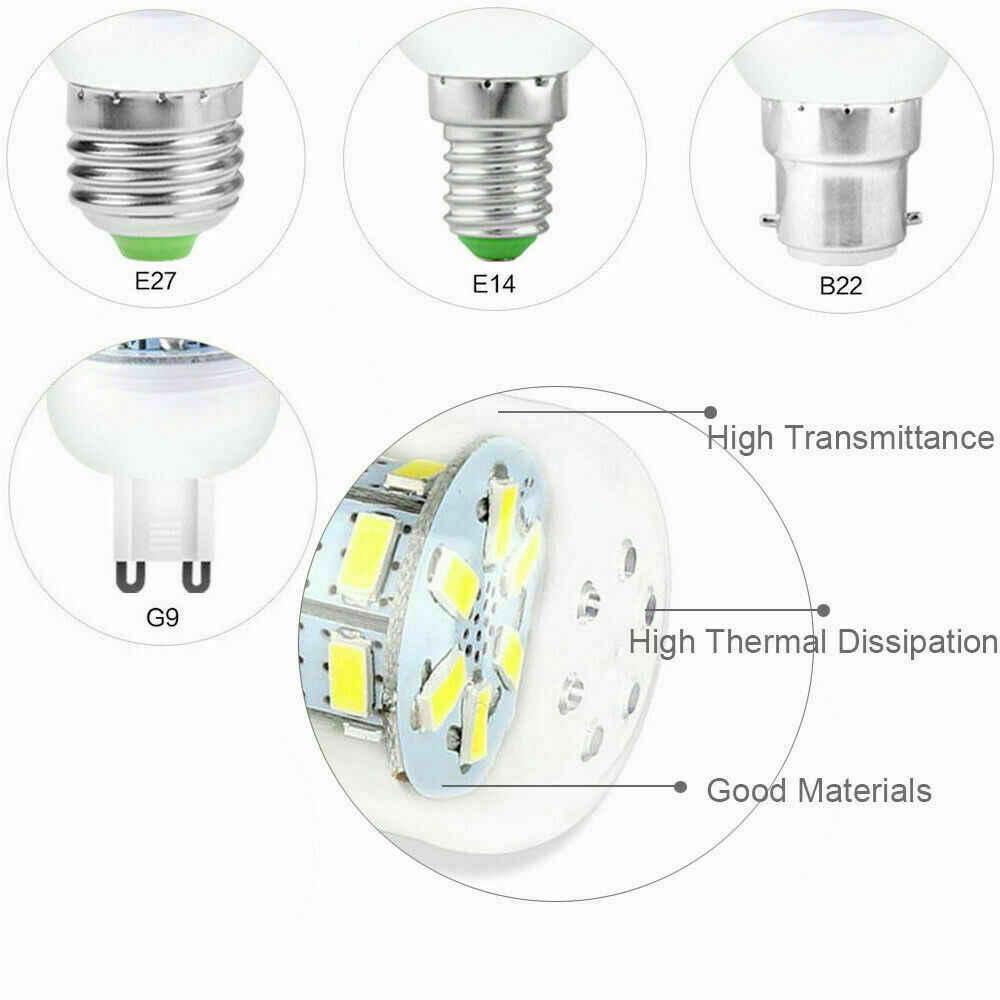 7ワット9ワット12ワット15ワット20ワットledトウモロコシ電球E14 E27 es bc B22 G9 GU10 5730 smd高輝度クールウォームホワイトランプ220v 110v家庭のリビングルーム