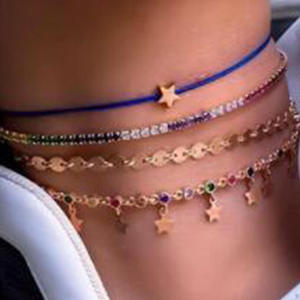 Tocona Crystal-Stone Anklets Women Pendant-Rope Foot-Chain Beach Jewelry Gold Luxury
