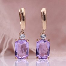 Luxury Purple Crystal Dangle Drop Earrings Colour Gems Zircon Bridal Earrings Blue Crystal Wedding Engagement Women Jewelry Gift