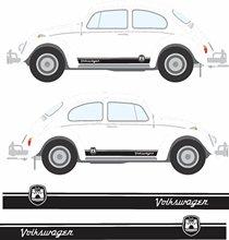 Para 1 conjunto/2 pçs clássico besouro wolfsburg listras gráficos decalques adesivos estilo do carro
