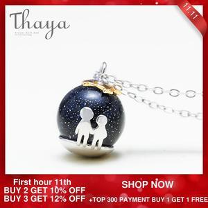 Image 2 - Thaya fête bleu gravier gemme pierre pendentif collier S925 en argent Sterling enfants enfance collier pour les femmes Chic cadeau Unique
