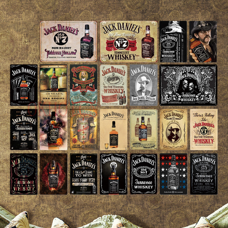 Whiskey Metal Tin Sign Plaque Metal Vintage Pub Retro Tin Sign Wall Decor for Bar Pub Club Man Cave Decorative Plates
