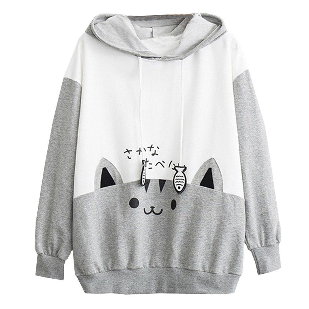 Sweatshirts Women 2020 Casual Long Sleeve Kitty Cat Print Pocket Thin Hoodie Top Japanese Letter Japan Style Hoodie Hot #YL10