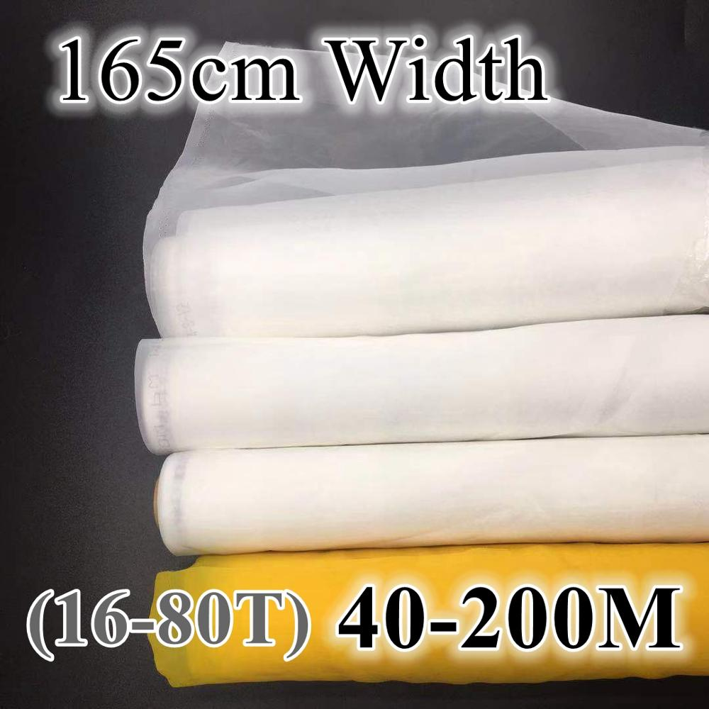 White Silk Screen Printing Mesh 60M/80M/100M/120M/140M/160M/180M/200M Polyester Screen Printing Fabric 165cm Width Tool Parts