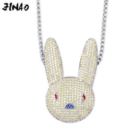 JINAO New BadBunny Pendant&Necklace Hip hop Jewelry for Men and Women Gold Rose Silver Ice out CZ Necklace