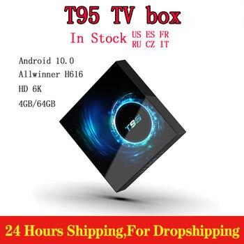 Genuine T95 Smart Android TV Box 4G 64GB Allwinner H616 Quad Core 1080P H.265 6K TV Box Android 10.0 Set-Top Box 2GB 16GB x96q tv box android 10 allwinner h313 quad core 4k 3d 2gb 16gb 2 4g wifi media player netflix h 265 smart set top box pk x96mini
