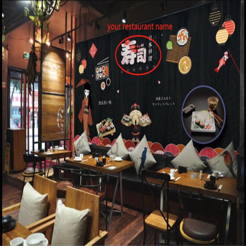Custom Hand-painted Cartoon Japanese Sushi Restaurant Black Background Wallpaper Mural Modern Industrial Decor Wall Paper 3D