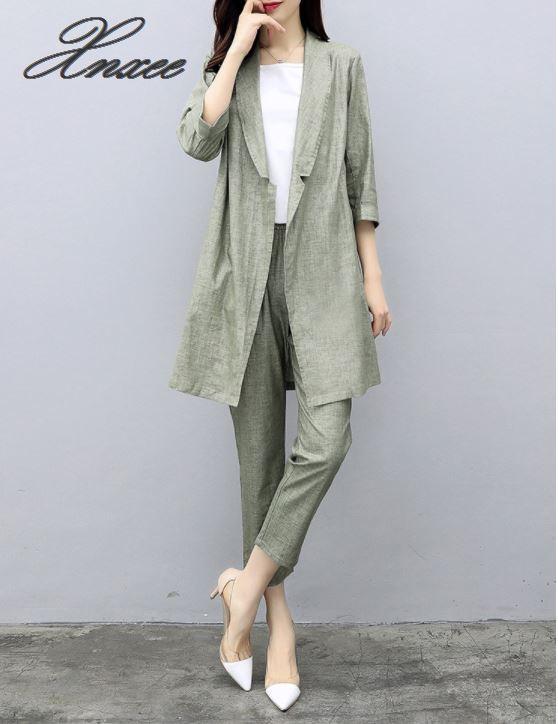 Xnxee 2019 autumn new women's suit pants cotton and linen suit jacket nine pants casual fashion two-piece
