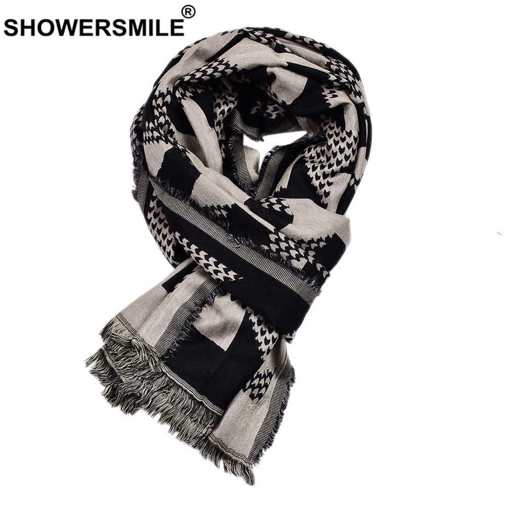 SHOWERSMILE Winter Men Scarf Black Cotton Linen Fashion Scarf for Men Tassel Geometric Print 2019 new arrival Brand Men Scarves