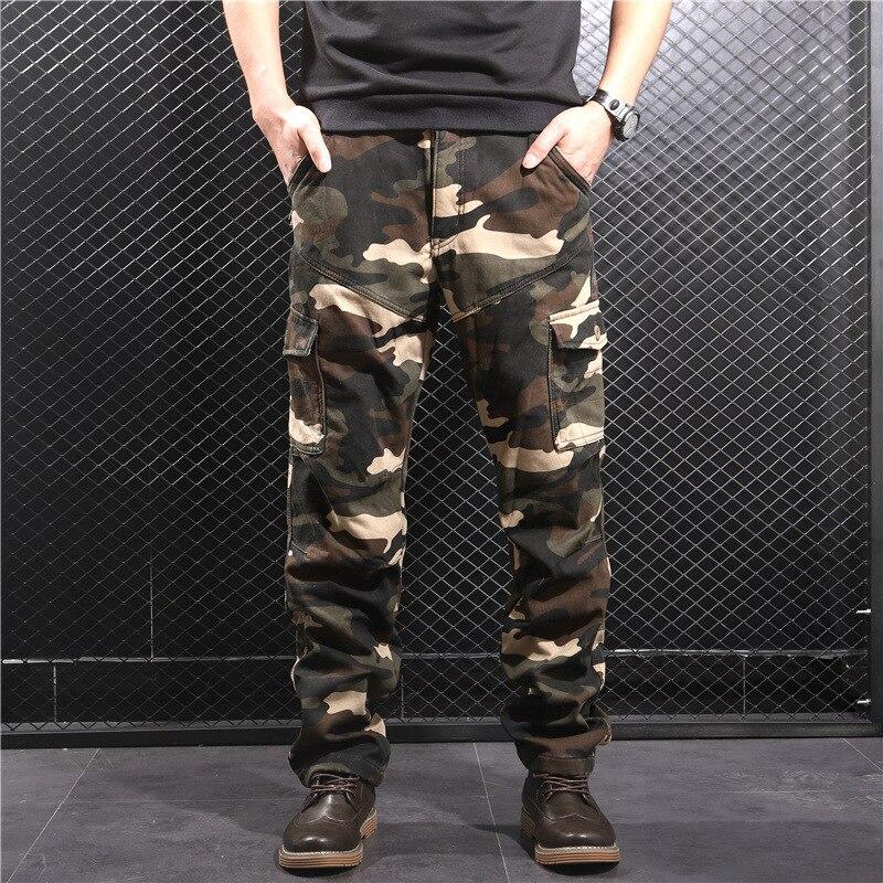 2018 MEN'S Casual Pants Thick Bags Loose-Fit Trousers Autumn Men's Plus Velvet Bib Overall Xk1102