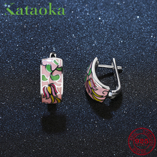 Spring breath flamboyant pink flower Stud Earrings for women Authentic 925 Sterling Silver charms Fashion Enamel Party Jewelry