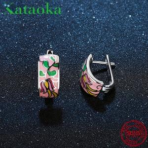 Image 1 - Wiosenny oddech ekstrawaganckie różowe kolczyki sztyfty z kwiatem dla kobiet autentyczne 925 srebro charms moda emalia Party biżuteria