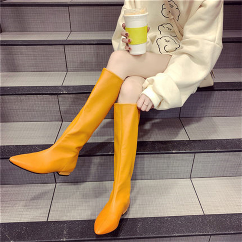 Shoes Women Pointy Toe PU Leather Knee High Boots Low Heels Spring Autumn Fashion Long Boots Flats Knight Boots Black Orange