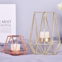 Candelabros geométricos de hierro forjado de estilo nórdico para decoración del hogar artesanías de Metal