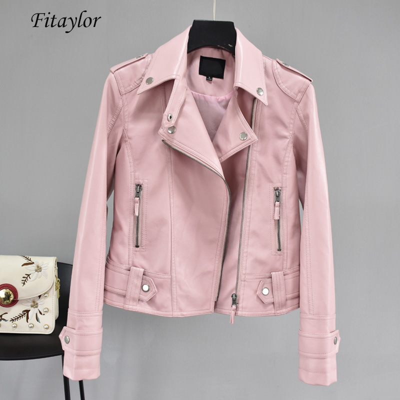 Fitaylor Autumn Short Faux Pu Leather Jacket Black Rivet Zipper Motorcycle Pink Jackets Coat Turndown Collar Casual Yellow Coats