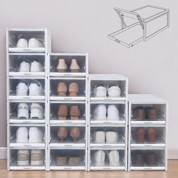 3pcs/set Drawer Type Shoe Box Thickened Transparent Foldable Shoe Storage Box Save Space Plastic Shoe Organizers Rack Cabinet 1