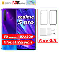 Realme 5 Pro Globale Versione Vooc 20W Caricatore Veloce 6.3 Pollici Del Telefono di Moblie Snapdragon 712 Aie Octa Core 48MP quad Fotocamera Del Cellulare