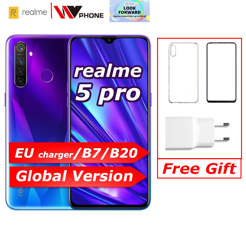 Realme 5 Pro Global Version VOOC 20W Fast Charger 6.3 Inch Moblie Phone Snapdragon 712 AIE Octa Core 48MP Quad Camera Cellphone