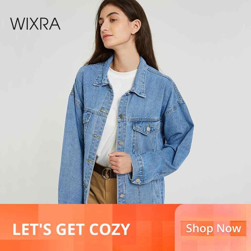 WIXRA База новинка базовый мастхэв весна зима осень лето тренд 2019 wixra модная одежда классические свободные женская мастхэв стильная повседневные гардероб сплошное куртка джинсовка джинса деним отложной воротник