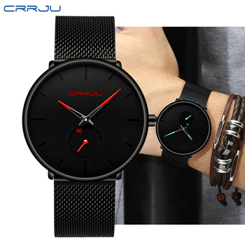 CRRJU Top Brand watch men Luxury Quartz watches Casual quartz-watch stainless steel Mesh strap ultra thin clock Erkek Kol Saati tevise men watches top brand luxury automatic mechanical watch stainless steel waterproof erkek kol saati clock