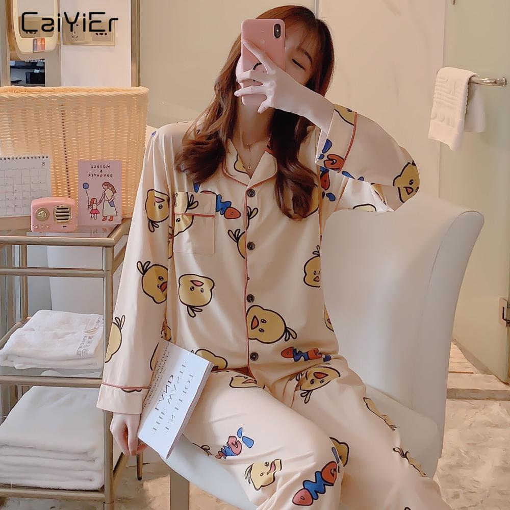 Caiyier Autumn Winter   Pajamas     Set   Cute Yellow Duck Print Causal Sleepwear Lovely Girl Long Sleeve Korean Nightgown Ladies Homewe