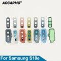 Стекло для объектива камеры заднего вида Aocarmo с рамкой кольцевая крышка клейкая наклейка запасные части для Samsung Galaxy S10e