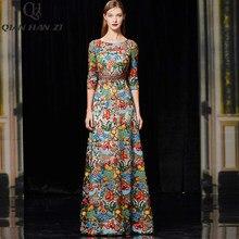 Qian Han Zi Designer Runway Fashion Slim Party Lange Jurk Vrouwen 3/4 Mouw Luxe Hoge Kwaliteit Mesh Geborduurde Maxi Jurk