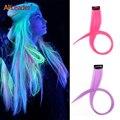 Alileader 20 дюймов, мягкие искусственные светящиеся синтетические волосы, 1 зажим для наращивания волос, 11 цветов, высокотемпературное волокно