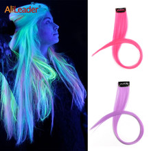 Alileader extensão de cabelo sintético brilhante, 20 polegadas, cabelo falso, 1 grampo, disponível em 11 cores, fibra de alta temperatura