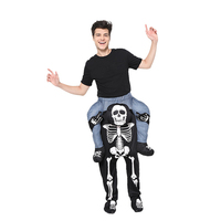 Halloween Skull Piggy Back Costume Novelty Funny Pants Ride On Me Fancy Dress Carry Back Party Dress Adult Cosplay Costume
