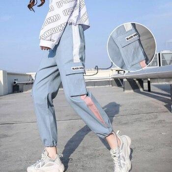 Streetwear Cargo Pants Women Harajuku Loose Big Pockets Joggers Women Harem Pants High Waist Loose Female Trousers Ropa Mujer women high waist loose joggers drawstring streetwear cargo pants solid big pocket causal pants punk trousers