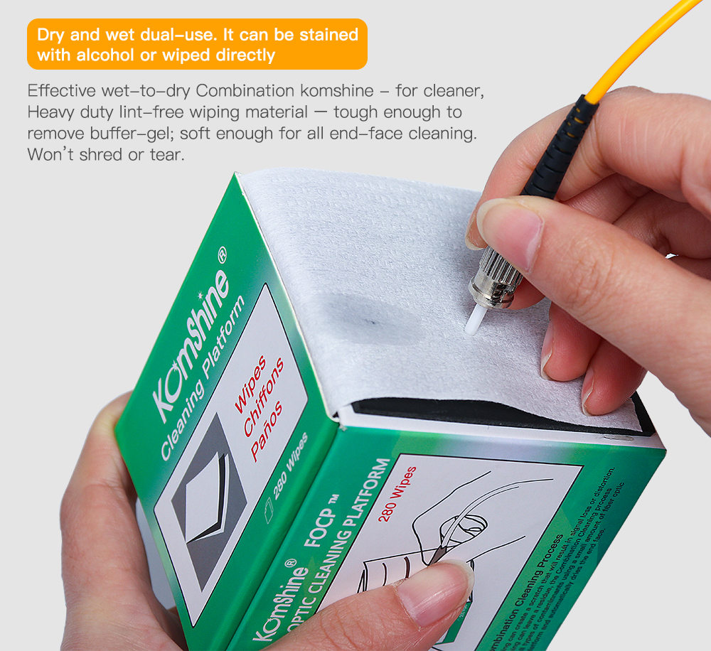 Komshine Fiber Optic Cleaning Wipes FOCP Suit For FC/SC/ST 2.5mm 1.25mm LC Bare Fiber Universal Connector