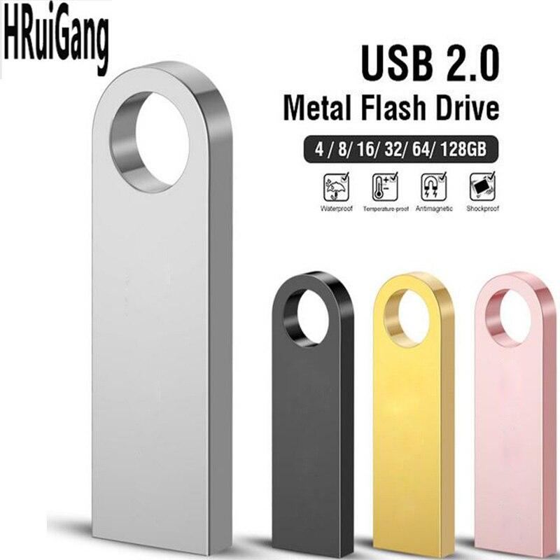Usb Flash Drive Metal Pen Drive 2.0 Pendrive 32GB 16GB 8GB 4GB High Speed Key Usb Stick 128GB Flash Memory 64GB Free Print LOGO