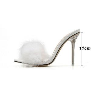 Image 3 - Kcenid zapatos de PVC con punta abierta para mujer, zapatillas femeninas de tacón alto transparente con plumas, en color blanco, 2020
