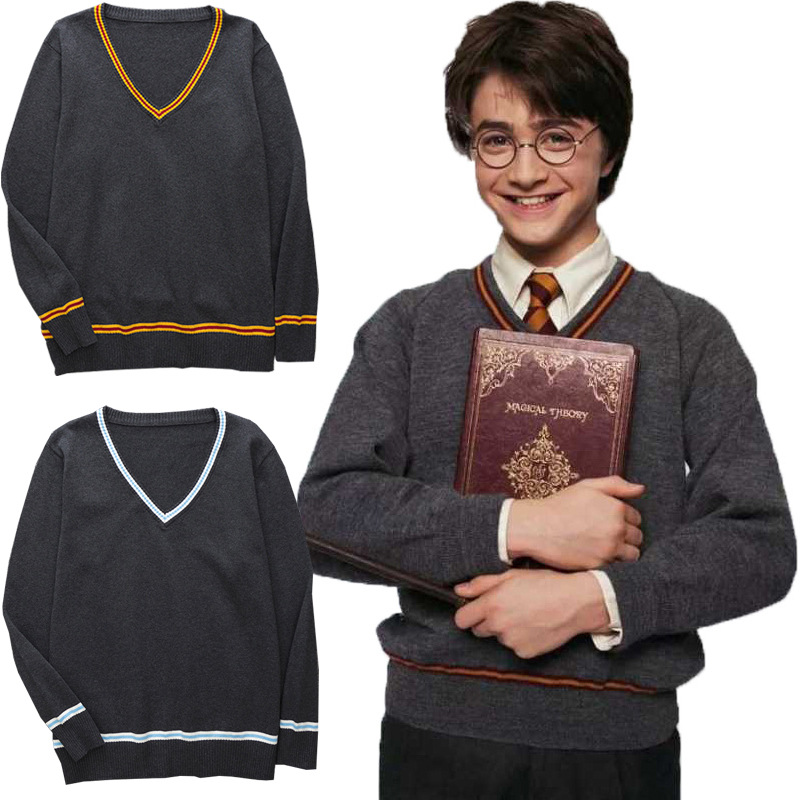 Children Sweater Harri Potter V-neck Sweater Daily Clothes Cosplay Series Black All-match Cosplay Costumes College Role Playing