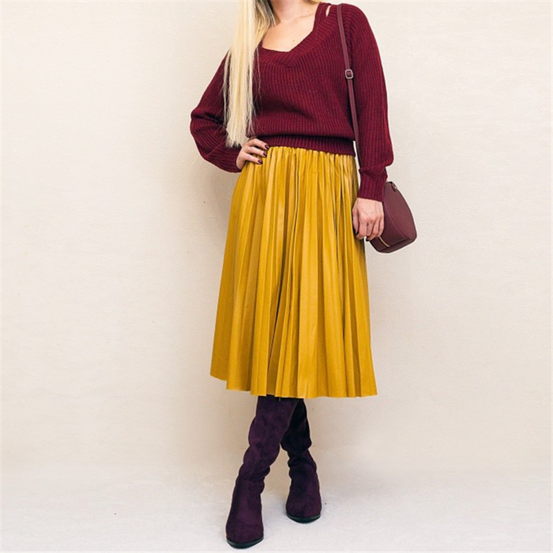 Neophil Ladies PU Faux Leather Skirts Midi Pleated High Waist Vintage Basic Mid-calf 2019 Winter Women Skirts Longa Saia S29A3