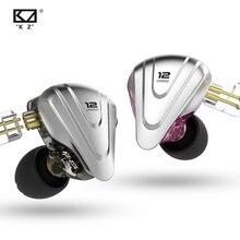 KZ ZSX 5BA + 1DD 6 Fahrer Hybrid in-Ohr HiFi Kopfhörer mit Zink-legierung Frontplatte, 0,75mm 2 Pin Abnehmbare Kabel für Audiop