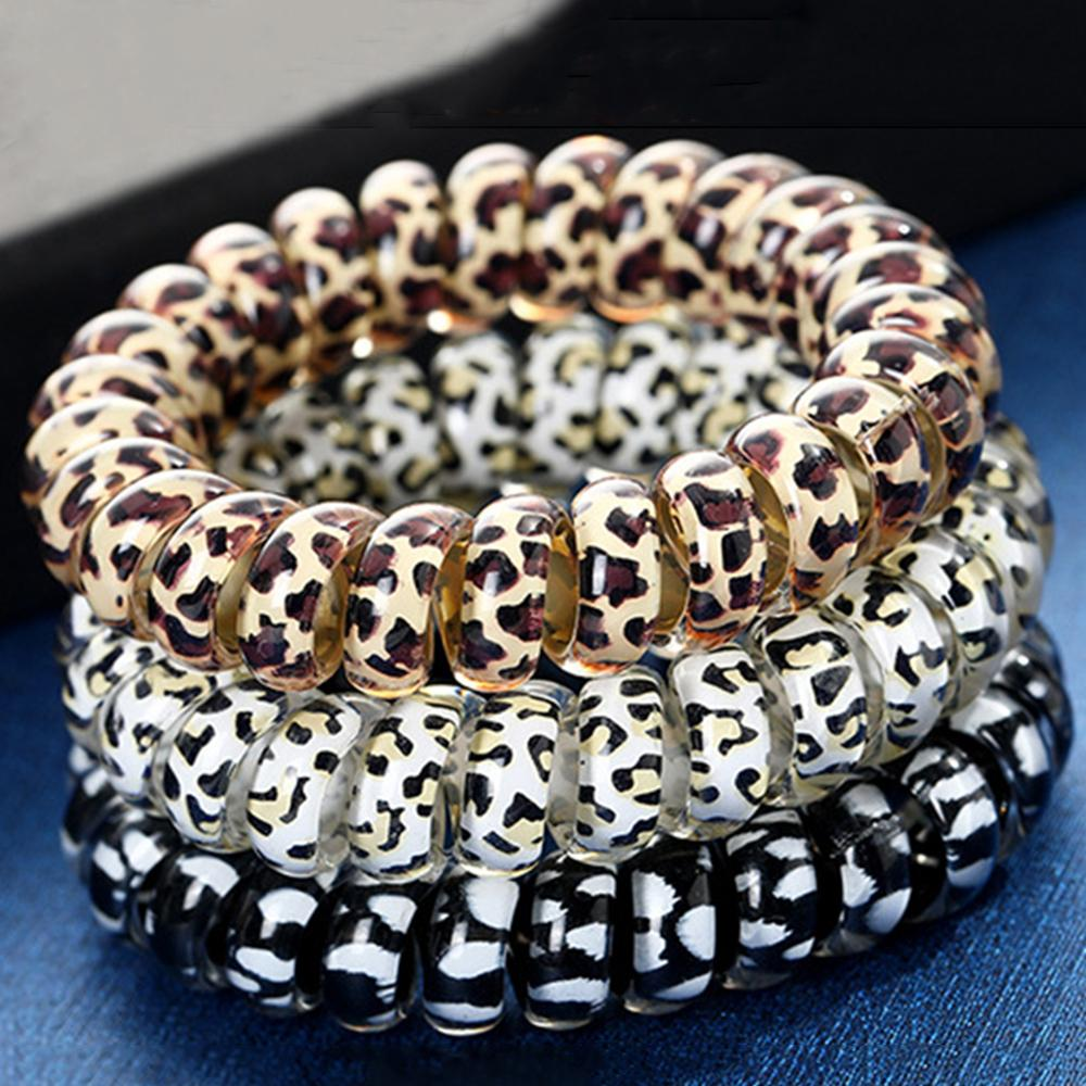 1PC Leopard Hair Bands Spiral Shape Ponytail Hair Ties Gum Rubber Band Hair Rope Telephone Wire Hair Accessories Headband