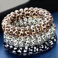 1PC Leopard Hair Bands Spiral Shape Ponytail Hair Ties Gum Rubber Band Hair Rope Telephone Wire Hair Accessories Headband(China)