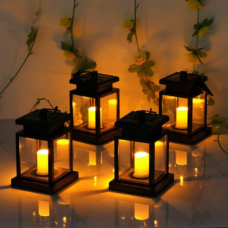 Tpgebo movido a energia solar led ao ar livre twinkle vela lanterna lâmpada ao ar livre casa decoração do jardim luz chama quente piscando chá luz