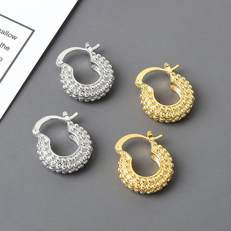 HUANZHI 2020 New Metal Threads Textured Gold Earrings Rhombus Multi Row Beads Geometric Hoop Earrings for Women Girls Jewelry