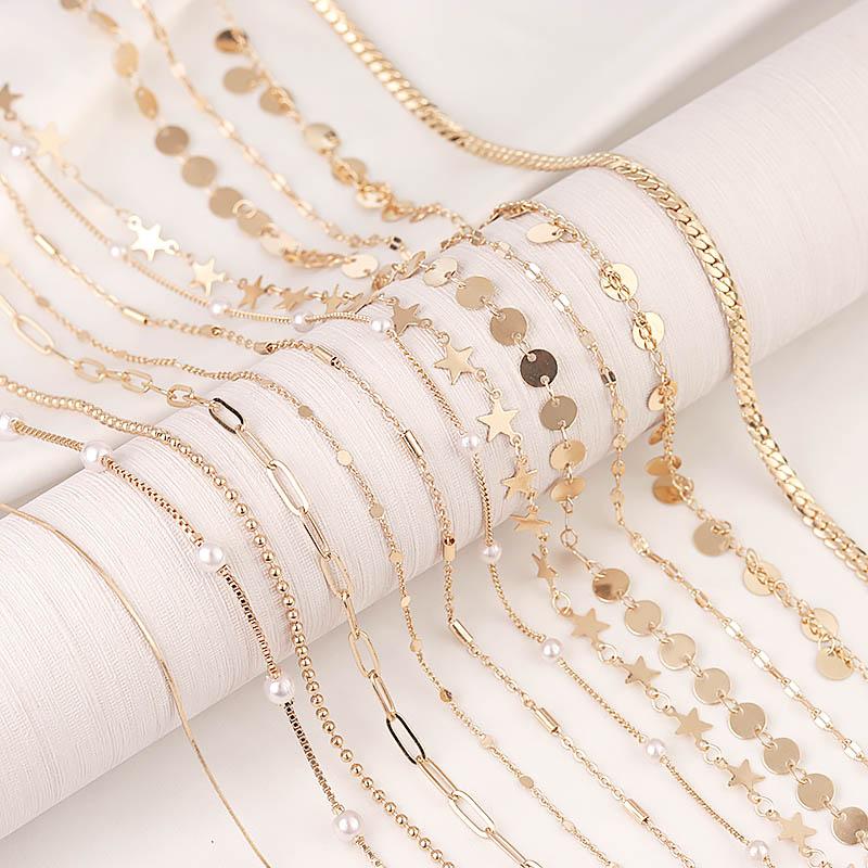 2 м круглая звезда, бусины, цепочка, искусственная Золотая овальная звено, DIY кошелек, цепочка, ювелирные изделия, ожерелье, изготовление аксе...
