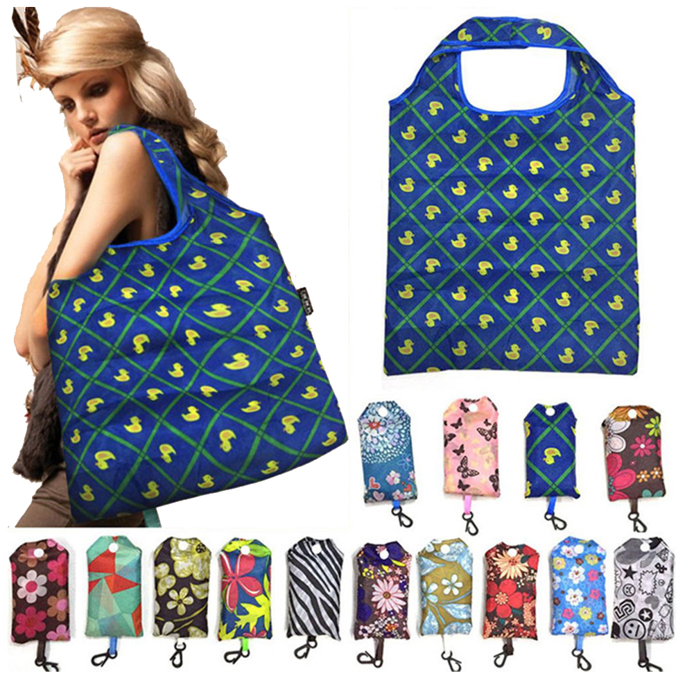 Recycling Floral Print Fashion Foldable Handbag Storage Fruit Vegetable Supermarket With Handle Shopping Bag Eco Friendly