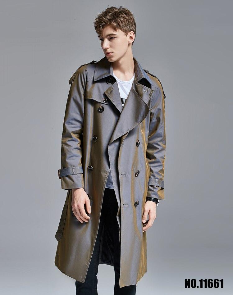 Trench couleur changeante hommes sur le genou long trench manteau hommes 2019 printemps automne britannique long manteau jeune! S 6XL - 4