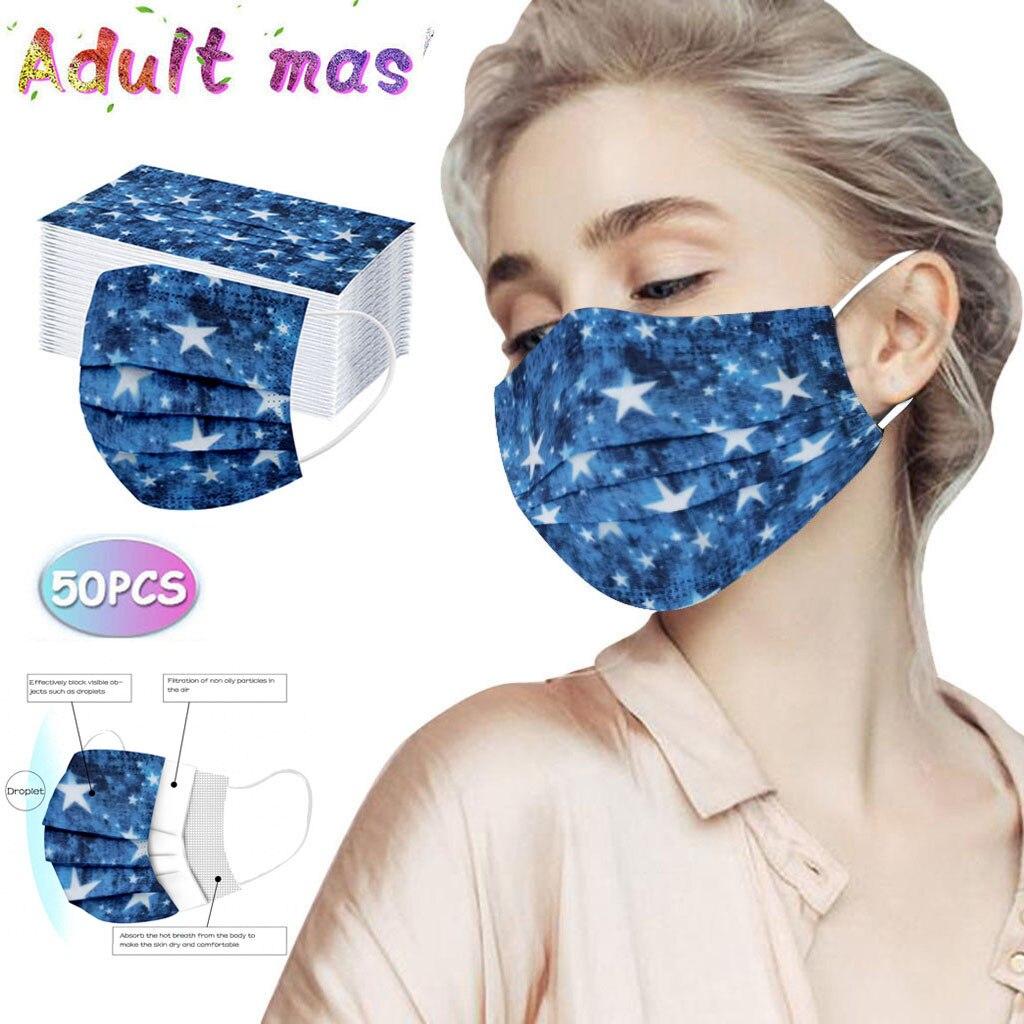 50 шт. для взрослых с модным принтом одноразовая маска для защиты три Слои дышащая маска для лица аэродинамическим способом из расплава 3-Сло...