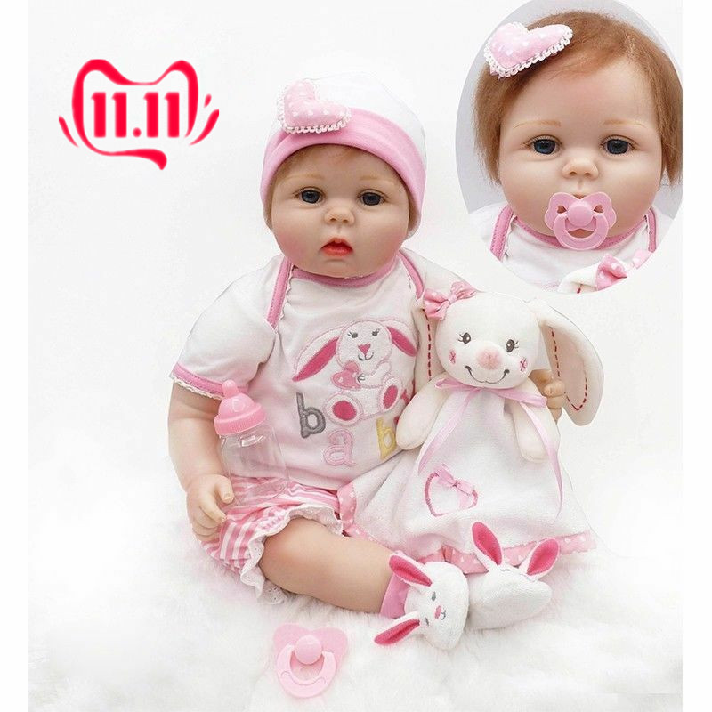 22in  Reborn Baby Doll Girl Soft Silicone Toy likelife baby Pink Dress Bear NPK