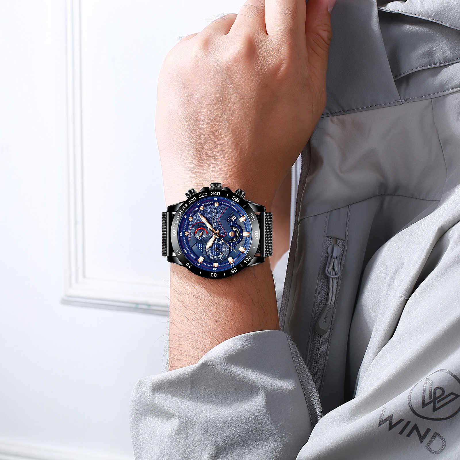 CRRJU relojes de pulsera de lujo para hombre, reloj de cuarzo, reloj azul, reloj deportivo resistente al agua, reloj Masculino