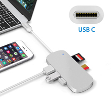 USB C HUB Type C Thunderbolt 3 Dock 5 in 1 USB-C Adapter Dongle Combo with USB 3.0 Ports TF Slot Micro SD Card For MacBook Pro цена и фото
