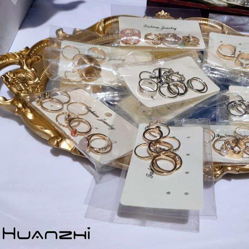 HZ 2019 Vintage Musim Panas 8 Pcs/Set Teman-teman Peri Batu Berwarna Metalic Fashion Jari Cincin Korea Memukul Cincin untuk Wanita Wanita pesta
