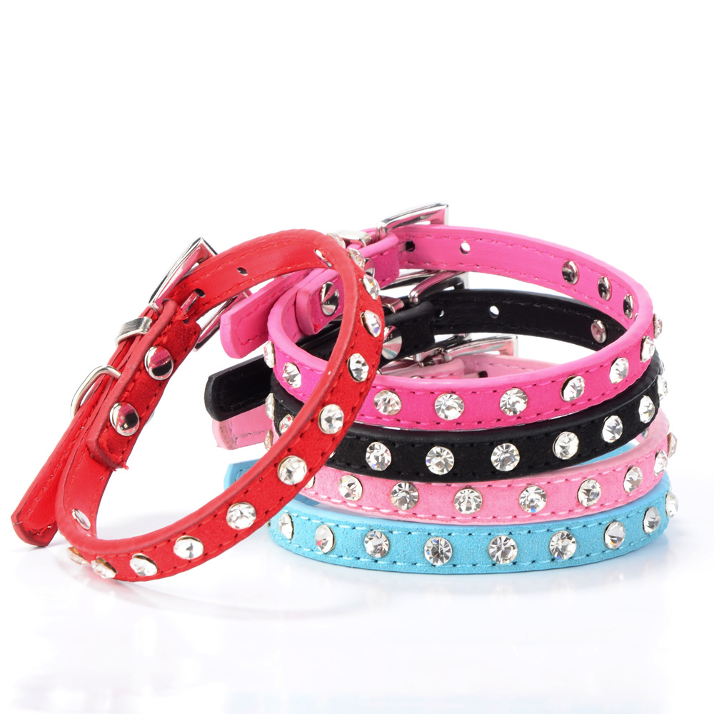 New Style Mini Kitten Small Dog Collar Man-made Diamond Velvet Genuine Leather Pet Collar Soft Hide Substance Dog Supplies Cat-r